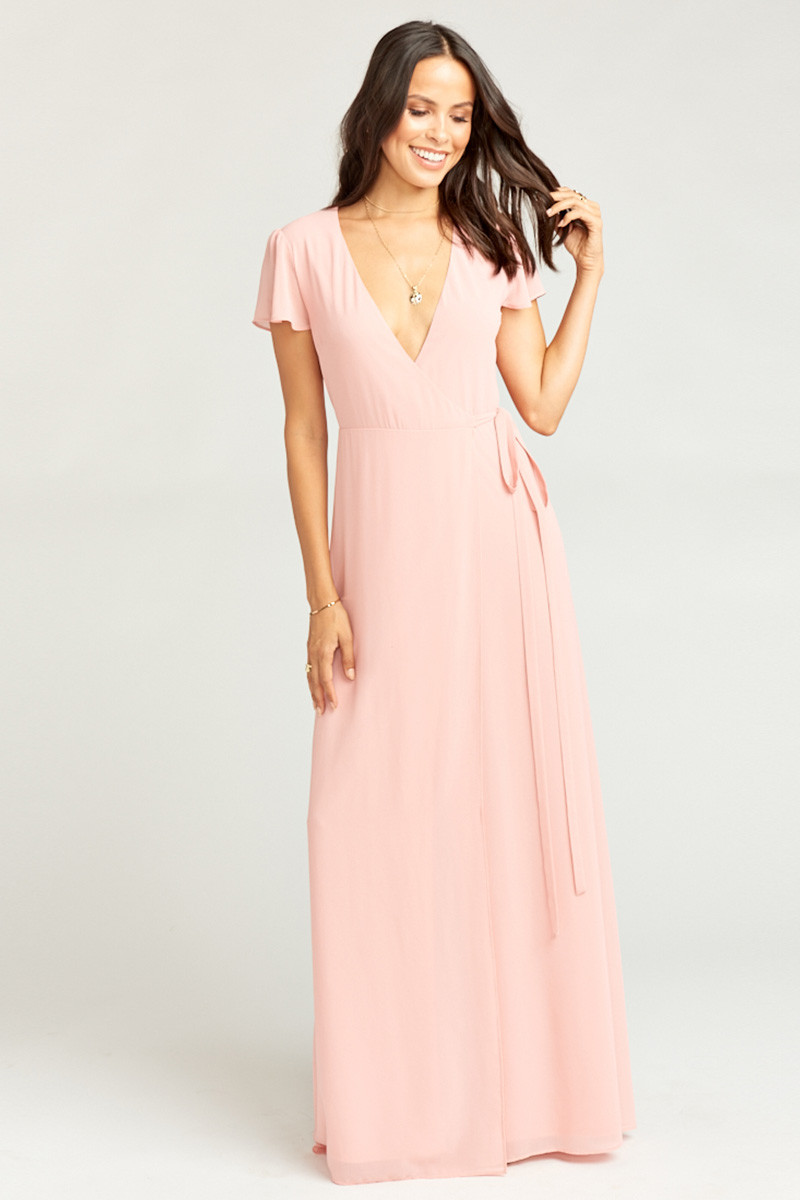 ff9cece0c28 Noelle Wrap Dress - Rosebud Chiffon A-line Bridesmaid Dress by Show Me Your  Mumu - WeddingWire.com