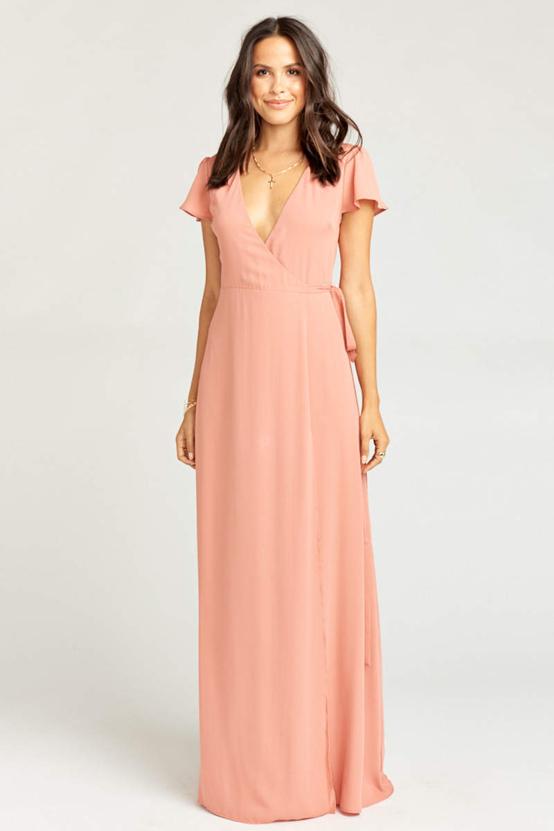 cdf8c0d4a91 Noelle Wrap Dress - Rustic Mauve Crisp A-line Bridesmaid Dress by Show Me  Your Mumu - WeddingWire.com