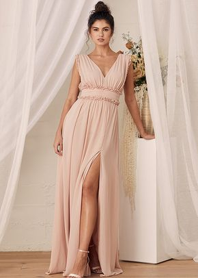 Always Devoted Blush Pink Ruffled Sleeveless Maxi Dress, 4415