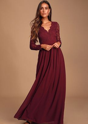 Awaken My Love Burgundy Long Sleeve Lace Maxi Dress, 4415