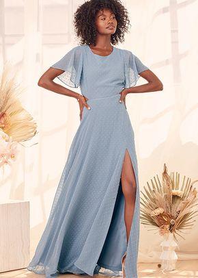 Deep in My Heart Slate Blue Swiss Dot Cutout Maxi Dress, 4415