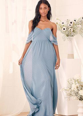 Got My Heart Slate Blue Swiss Dot Off-the-Shoulder Maxi Dress, 4415