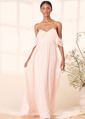 Got My Heart True Blush Swiss Dot Off-the-Shoulder Maxi Dress, 4415