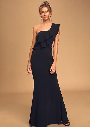 Grand Beauty Black Ruffled One-Shoulder Mermaid Maxi Dress, 4415