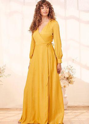 Have Faith Yellow Satin Button Sleeve Wrap Maxi Dress, 4415