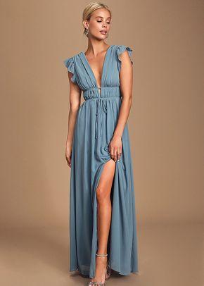 I'm All Yours Slate Blue Ruffled Maxi Dress, 4415