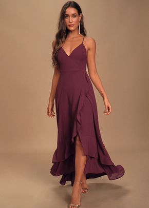 In Love Forever Plum Lace-Up High-Low Maxi Dress, 4415