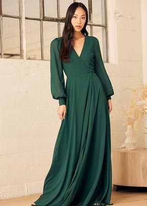 My Whole Heart Emerald Green Long Sleeve Wrap Dress, 4415
