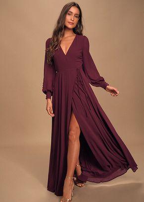 My Whole Heart Plum Long Sleeve Wrap Dress, 4415