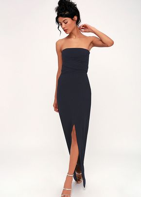 Own the Night Navy Blue Strapless Maxi Dress, 4415