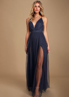 Rare Beauty Navy Blue Backless Maxi Dress, 4415