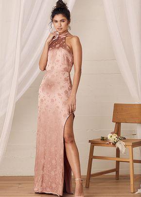 Red Carpet Ready Light Rose Floral Satin Jacquard Maxi Dress, Lulus Bridesmaid