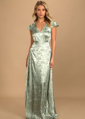 Stunning Perfection Light Sage Satin Jacquard Maxi Dress, 4415