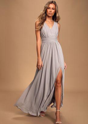 Thoughts of Hue Light Grey Surplice Maxi Dress, Lulus Bridesmaid