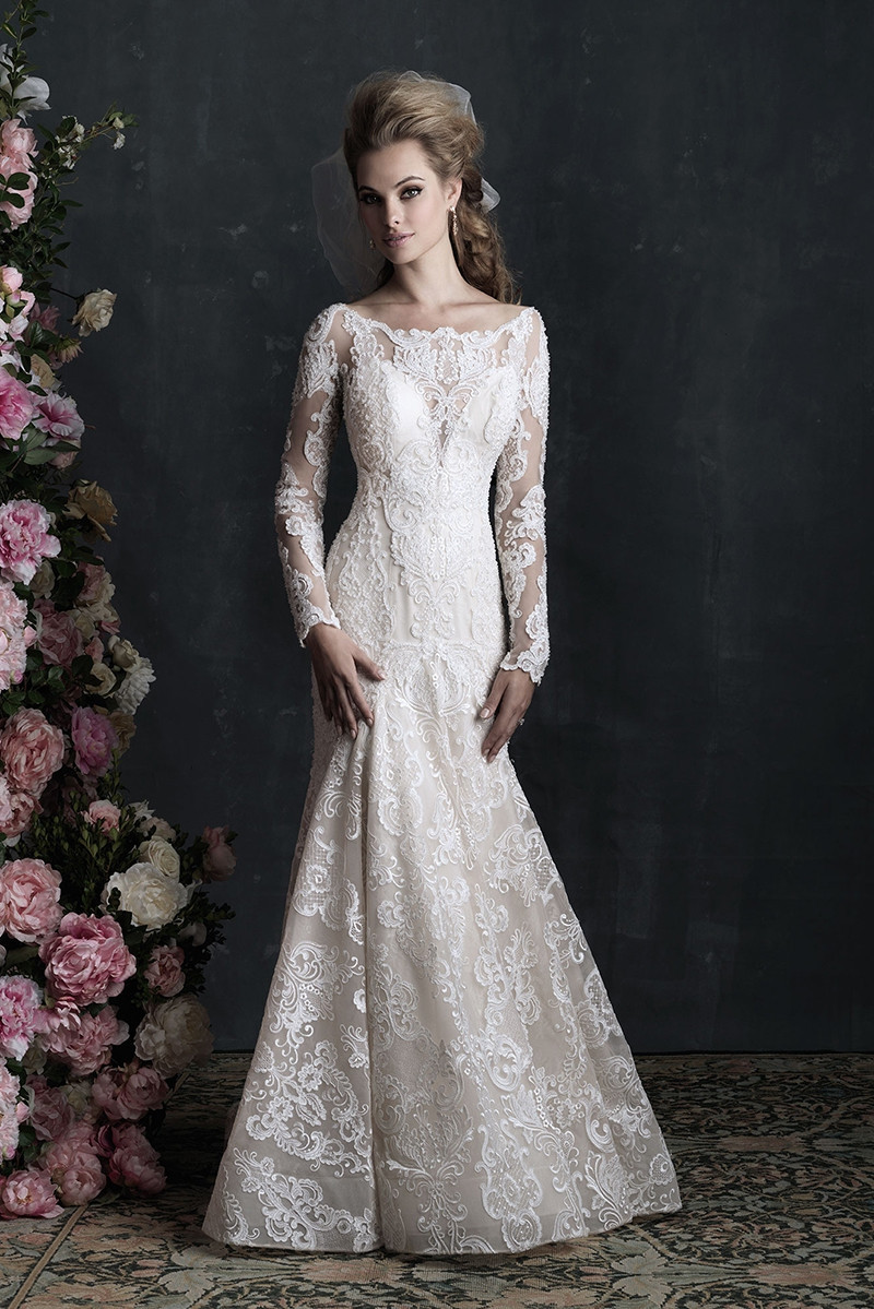 C406 sheath wedding dress by allure couture for Allure long sleeve wedding dress