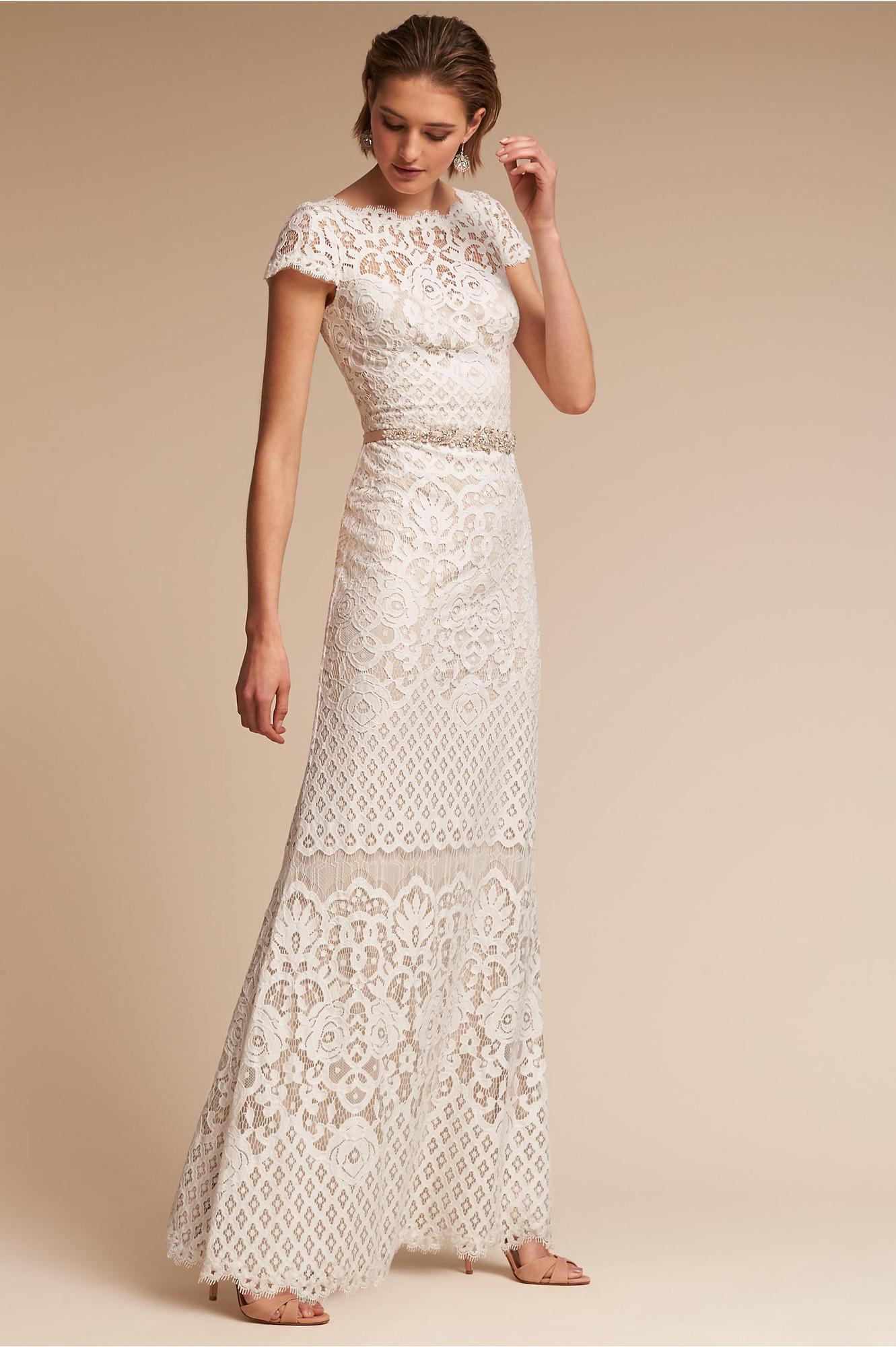 Tadashi shoji sheath wedding dress by bhldn for Tadashi shoji wedding dresses