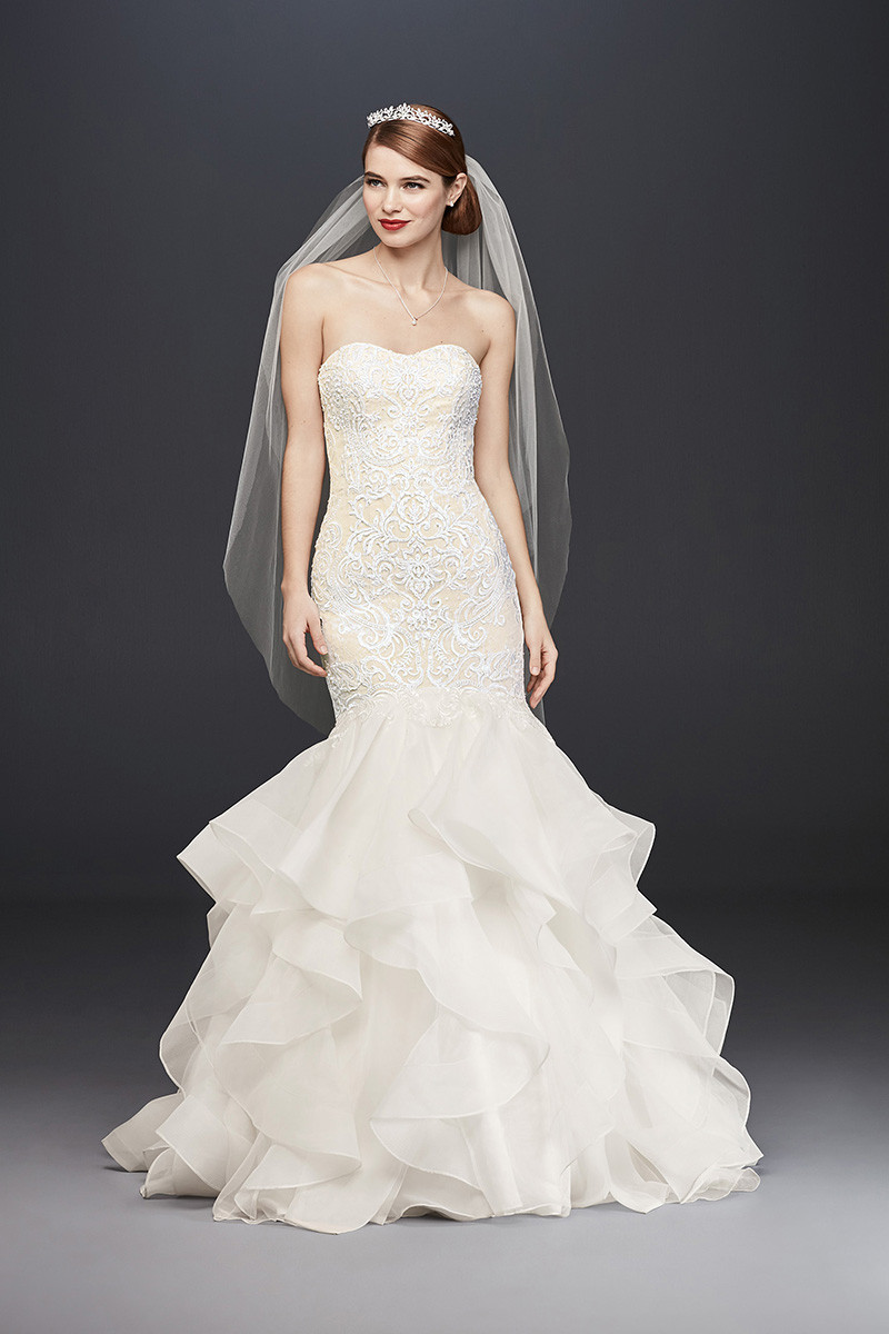 Oleg cassini cwg769 mermaid wedding dress by david 39 s for David bridal rental wedding dresses
