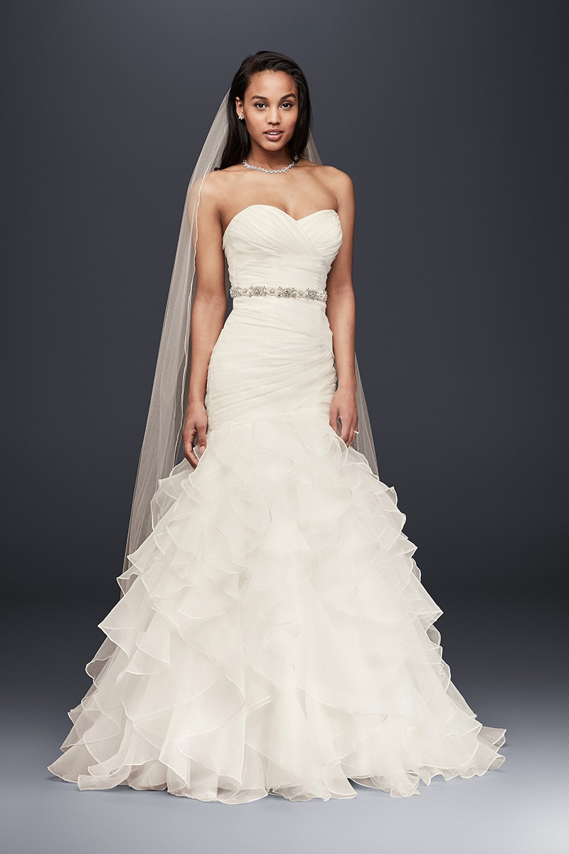 Ruffles wedding dress photos ruffles wedding dress for David bridal rental wedding dresses