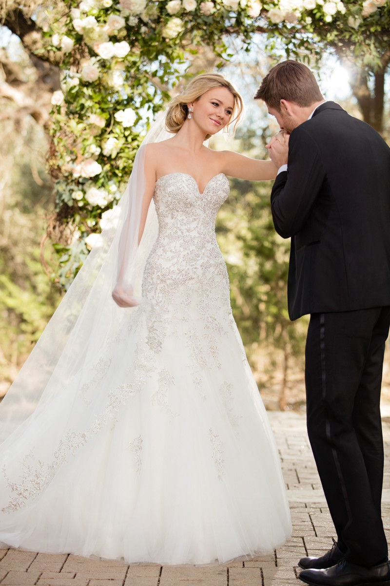D2398 A Line Wedding Dress By Essense Of Australia