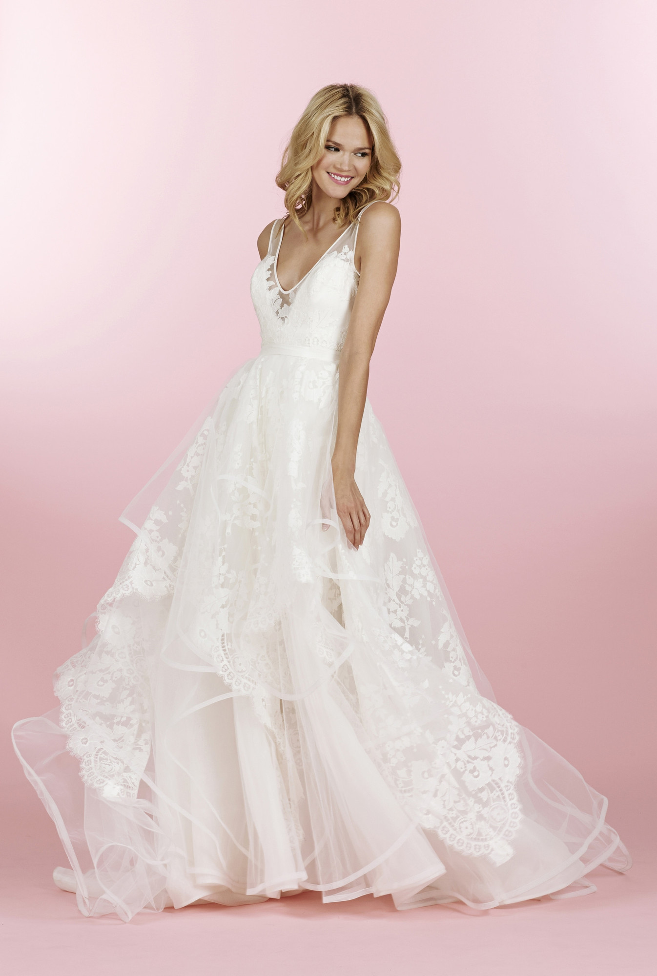 6458 a line wedding dress by hayley paige for Hayley paige wedding dresses cost