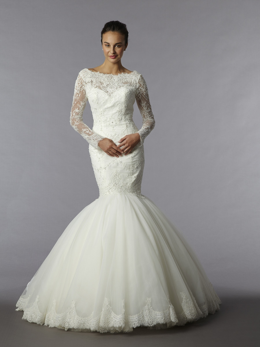 32699001 mermaid wedding dress by kleinfeld collection for Kleinfeld wedding dresses with sleeves