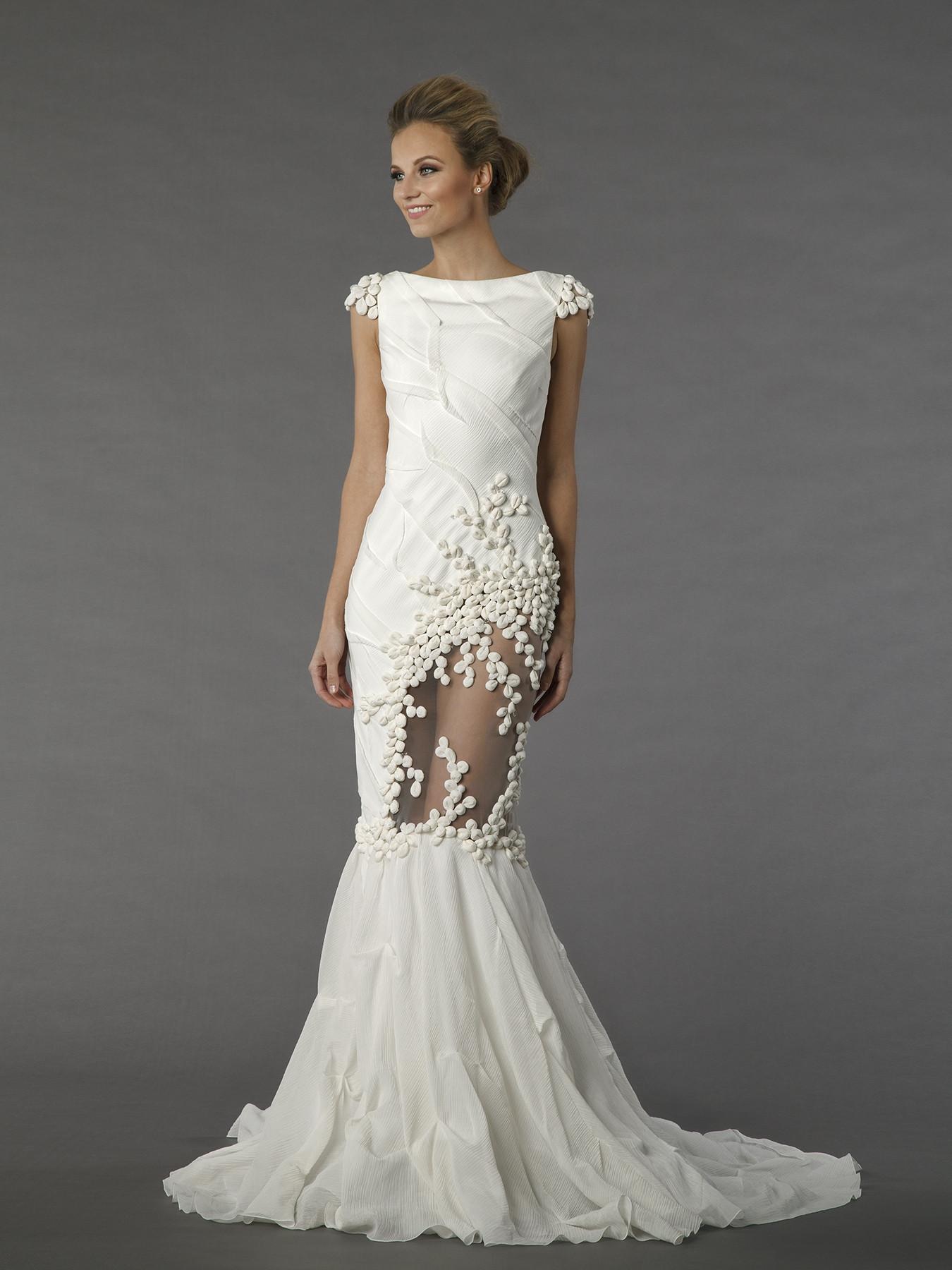 tony ward 6f14 sheath wedding dress by kleinfeld