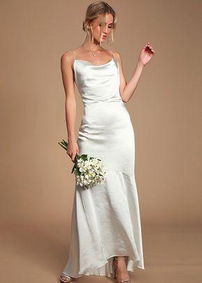 Aisle White Satin Cowl Neck Maxi Dress, Lulus Bridal
