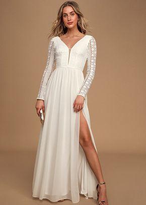 Always By My Side Ivory Lace Long Sleeve Maxi Dress, Lulus Bridal