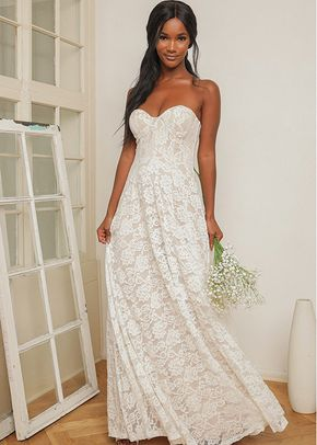 Dream Lasts Forever White Lace Bustier Strapless Maxi Dress, Lulus Bridal