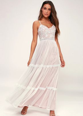 Elenora White Embroidered Maxi Dress, 4413