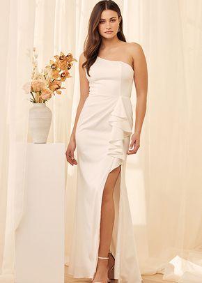 Enchanted By Love White Ruffled One-Shoulder Mermaid Maxi Dress, 4413