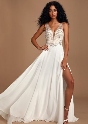 Forever and Ever White Beaded Lace-Up Maxi Dress, Lulus Bridal
