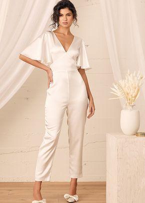 Forever Awaits White Satin Flutter Sleeve Jumpsuit, Lulus Bridal