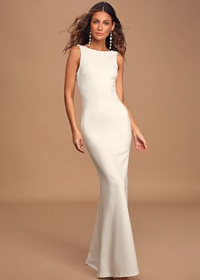 Love In Your Eyes Ivory Knotted Mermaid Maxi Dress, Lulus Bridal