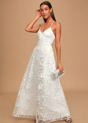 Magically Charming White Sequin Embroidered Lace-Up Maxi Dress, Lulus Bridal