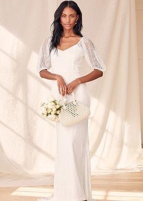 Make it Magnificent White Lace Puff Sleeve Mermaid Maxi Dress, Lulus Bridal