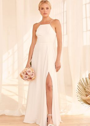 Make My Wish Come True White Tie-Back Maxi Dress, Lulus Bridal