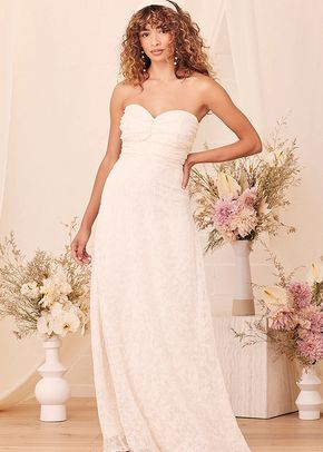 Met Your Match Cream Strapless Ruched Maxi Dress, Lulus Bridal
