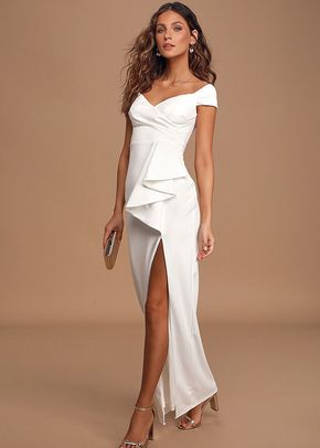 Mi Amor Ivory Off-the-Shoulder Maxi Dress, Lulus Bridal