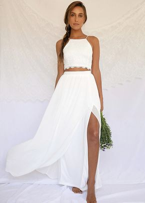 Midnight Memories White Lace Two-Piece Maxi Dress, Lulus Bridal
