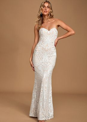 Olivia White Sequin Strapless Maxi Dress, Lulus Bridal