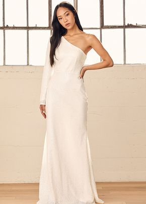 Promise My Forever White Sequin One-Shoulder Mermaid Maxi Dress, 4413