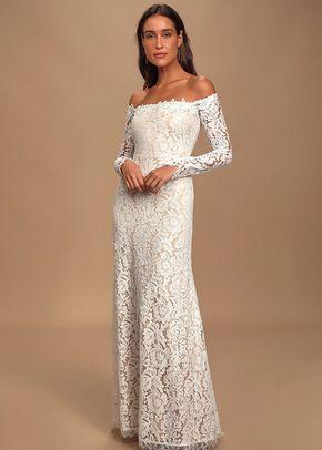 Romance Dreamer White Lace Off-the-Shoulder Maxi Dress, Lulus Bridal