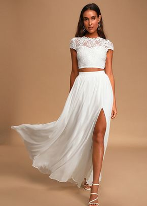 Sweet Stunner White Lace Two-Piece Maxi Dress, Lulus Bridal