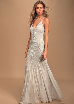 This I Promise You White and Nude Beaded Sequin Maxi Dress, Lulus Bridal