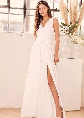 Thoughts of Hue White Surplice Maxi Dress, Lulus Bridal