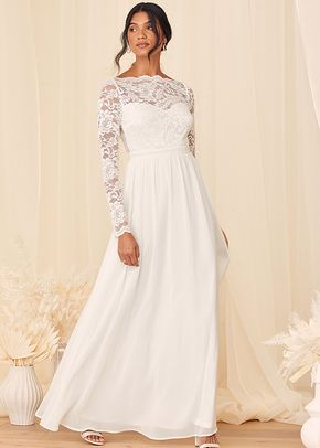 Your Ever After White Lace Long Sleeve Maxi Dress, Lulus Bridal
