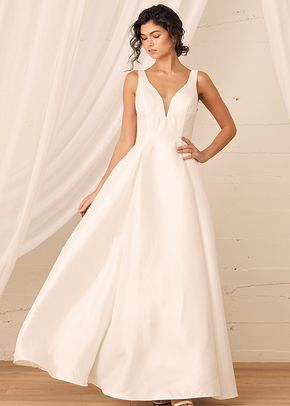 All My Devotion White Taffeta Sleeveless Plunge A-Line Gown, Lulus Luxe Bridal