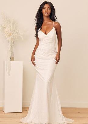 Beginning of Forever White Glitter Lace-Up Mermaid Maxi Dress, Lulus Luxe Bridal