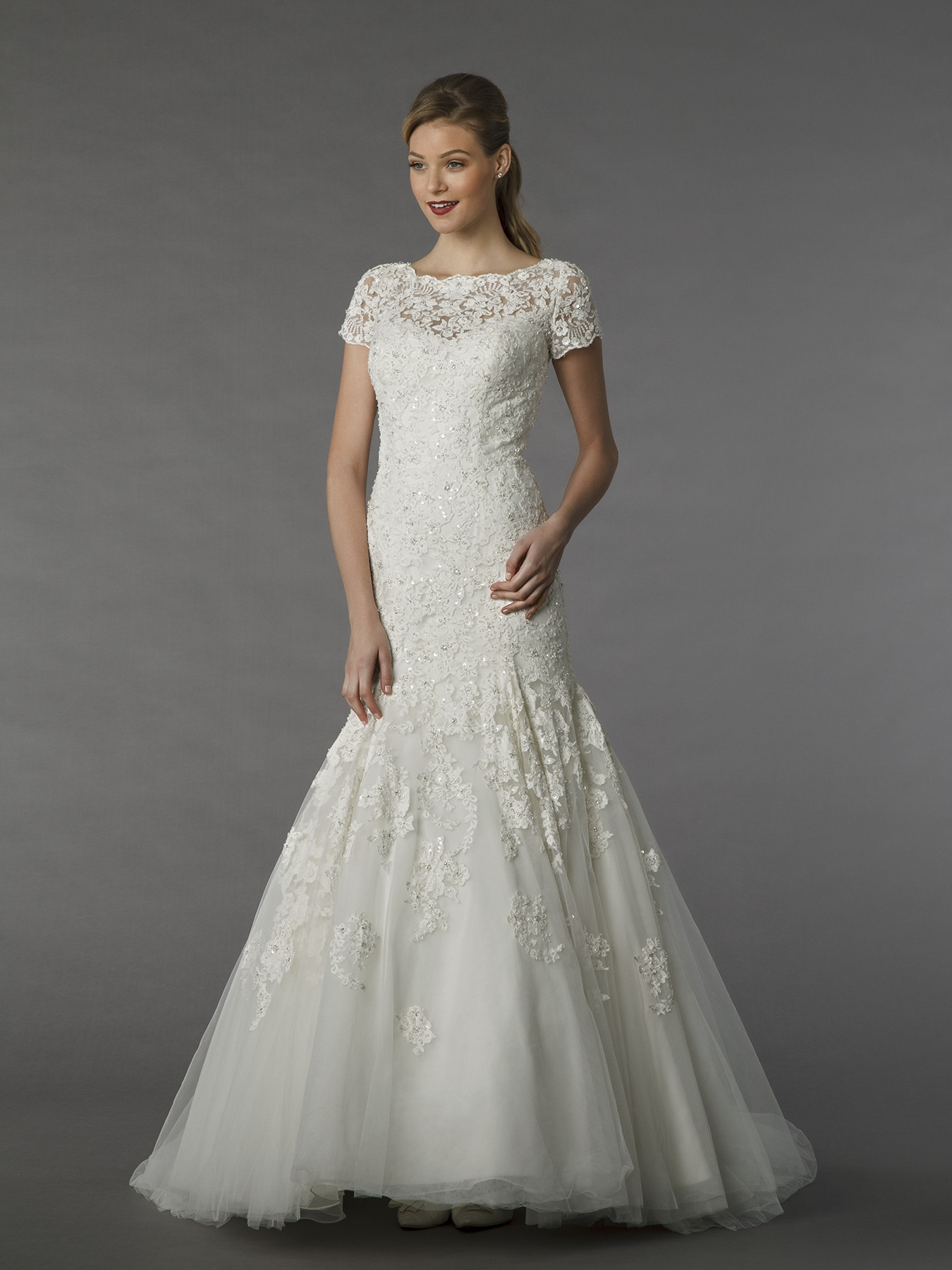 Mz2 74557 f 150dpi mermaid wedding dress by mark zunino for Wedding dresses under 150 dollars